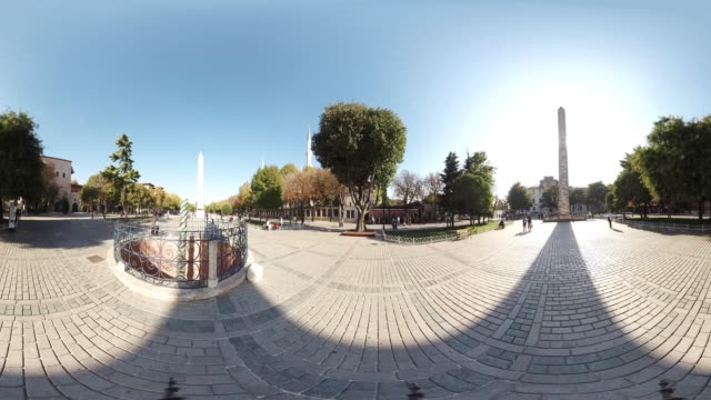 360 VR view of Obelisk in Sultanahmet Square in Istanbul Turkey October 20 2017 The Obelisk was brought back from Egypt in years 390 and could be...