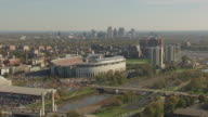 WS AERIAL View of Ohio state Football Stadium with campus and downtown / Columbus, Ohio, United States