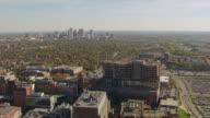 WS AERIAL View of Ohio State University campus with city / Columbus, Ohio, United States