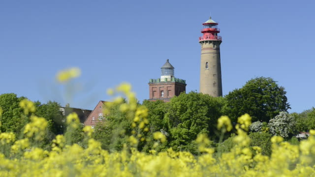 WS View of Old and new Lighthouse and Rape field at Kap Arkona  / Kap Arkona, Rugen/Mecklenburg, Germany