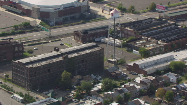 WS AERIAL DS View of old building at Roebling Complex / Trenton, New Jersey, United States