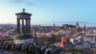 View of old town Edinburgh at twilight