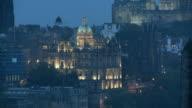 ZO, WS, View of Old Town illuminated at dusk, Edinburgh, Scotland, United Kingdom