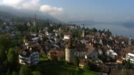 WS AERIAL View of old town with Lake Zug / Zug, Switzerland