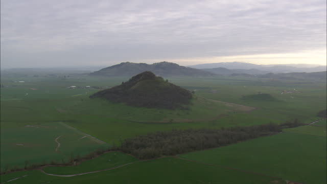 WS AERIAL View of Old volcano near Butte Creek / Oregon, United States