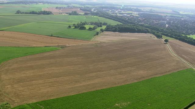 WS AERIAL ZI TD View of open farm land with la butte du lion,Waterloo / Walloon Region, Belgium