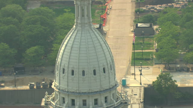 CU AERIAL TD View of orbit around dome of Michigan State Capitol building / Lansing, Michigan, United States