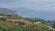 View of Orebic and Adriatic Sea from Panorama Cafe and church, Dalmatia, Croatia, Europe
