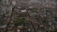 WS AERIAL View of outdoor pedestrians on bourbon street with surrounding streets / New Orleans, Louisiana, United States