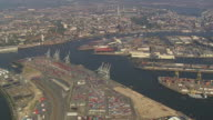 WS AERIAL View of over Hamburg port / Germany