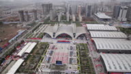 WS View of Over look exhibition building and skyline of city / Xian, Shaanxi, China