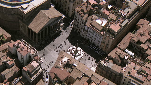 MS AERIAL View of over Pantheon building / Rome, Italy