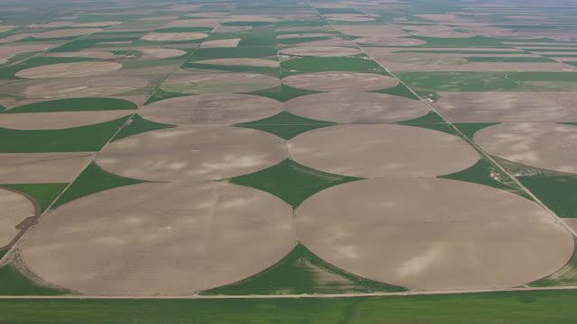 WS AERIAL TD View of Over pivot point irrigation circles to land northwest of Alliance / Alliance, Nebraska, United States