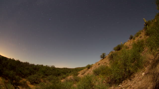 WS T/L View of Overnight starscape in desert / Cascabel, Arizona, United States