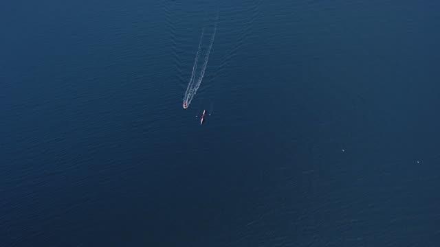 WS AERIAL ZO View of paddling in ocean / Queensland, Australia