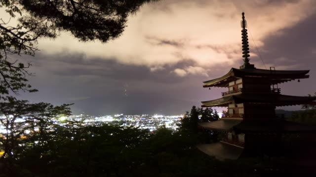 WS T/L View of pagoda overlooking Mount Fuji at night / Fujiyoshida, Yamanashi, Japan