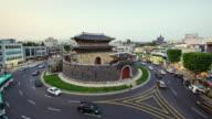 WS T/L View of Paldalmun gate area at day to night (UNESCO World Heritage) / Suwon, Gyeonggi do, South Korea