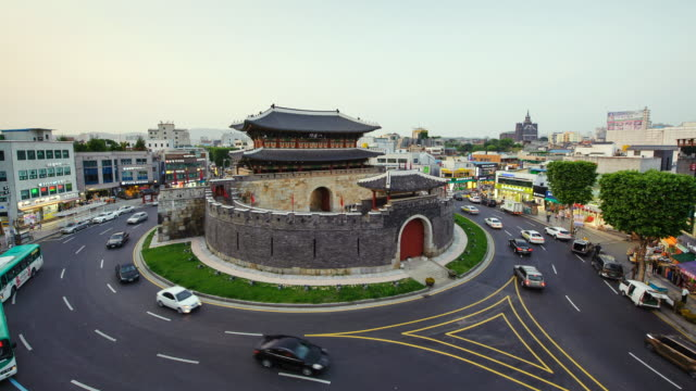 WS T/L View of Paldalmun gate area at day to night (UNESCO World Heritage) / Suwon, Gyeonggi do, South Korea
