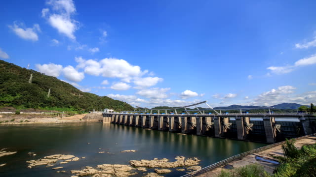 View of Paldangdam (A dam on the Han river and this dam supply of domestic water for some areas in Gyeonggi Province)