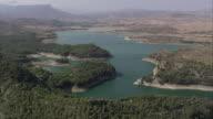 WS PAN AERIAL View of Pantano del Chorro reservoir / El chorro, Andalusia, Spain