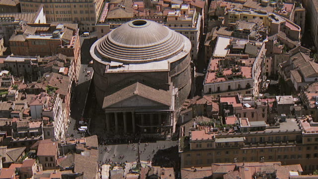 MS AERIAL View of pantheon Building and surrounding other buildings / Rome, Italy