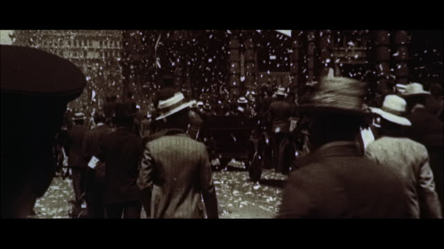 MS View of parade for parade for Charles lindbergh / New York, New York, United States