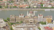 WS AERIAL View of parliament / Budapest, Hungary