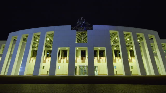 MS T/L ZI View of Parliament House at night, seat of Australian Government / Canberra, Australian Capital Territory, Australia