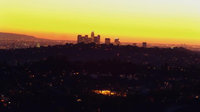 T/L, WS, HA, View of Pasadena at sunset, Los Angeles County, California, USA