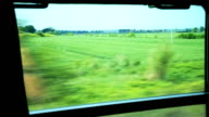 HD View of passing landscape rural areas from train window