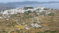 WS AERIAL View of Patmos and its monastery with houses and landscape / Patmos, Cyclades, Greece