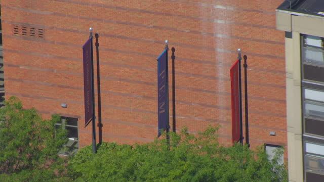 MS HA POV View of Peabody Essex Museum's banners / Salem, Massachusetts, United States