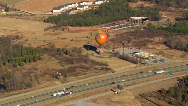 WS AERIAL View of Peachoid Water Tower / South Carolina, United States