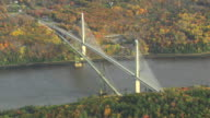 MS AERIAL View of Penobscot Narrows and old bridge / Maine, United States