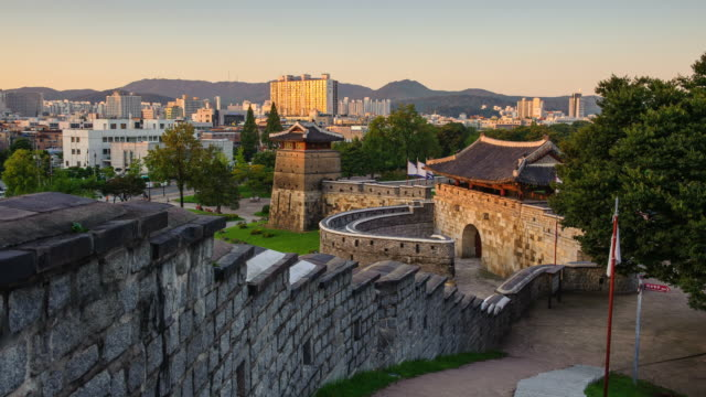 MS T/L View of people and Fortiefie Wall in Suwonhwasung Castle (UNESCO Heritage) / Suwon, Kyonggi-Do Province, South Korea