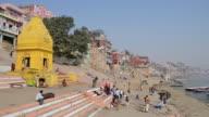 WS View of People at River Ganges / Varanasi, Utter Pradesh, India