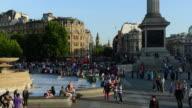 WS T/L View of People at Trafalgar Square / London, United Kingdom