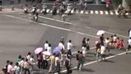 View of people crossing the road in Taipei Taiwan