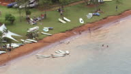 WS AERIAL View of people relaxing near sea/ Brasilia, Brazil