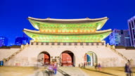 MS T/L View of People roaming Gwanghwamun gate in Gyeongbokgung royal palace(palace built in Chosun Dynasty) / Seoul, South Korea