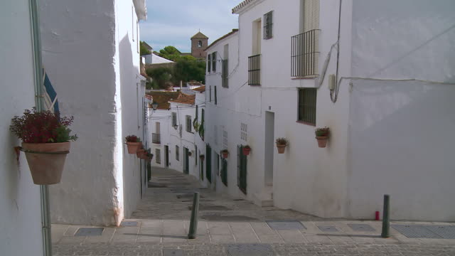 MS View of People walking at  mountain village Mijas / Mijas, Andalusia, Spain