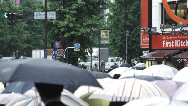 MS View of people walking on street WS People walking on street  / Tokyo, Tokyo-to, Japan