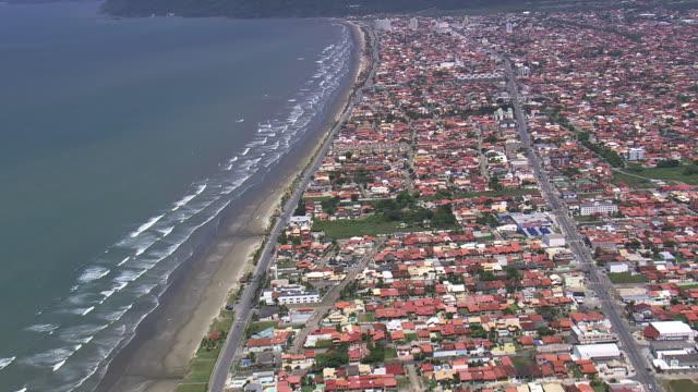 Ws Aerial View Of Peruibe Town Near Ocean Sao Paulo Brazil ...