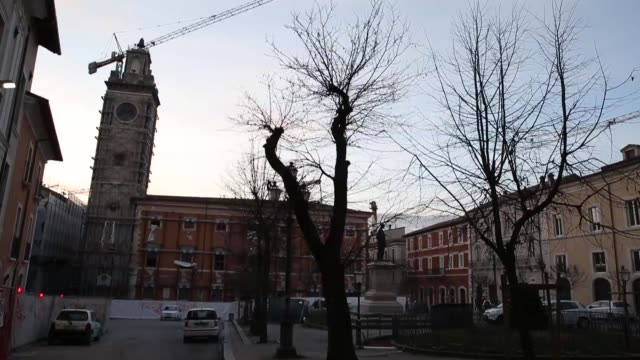 A view of Piazza Palazzo in L'Aquila on March 21 2017 The Eighth anniversary of the L'Aquila earthquake will be marked on 06 April 2017 commemorating...