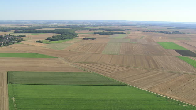 WS AERIAL ZI TS View of Picardy Fieldscape with village / Picardy, France