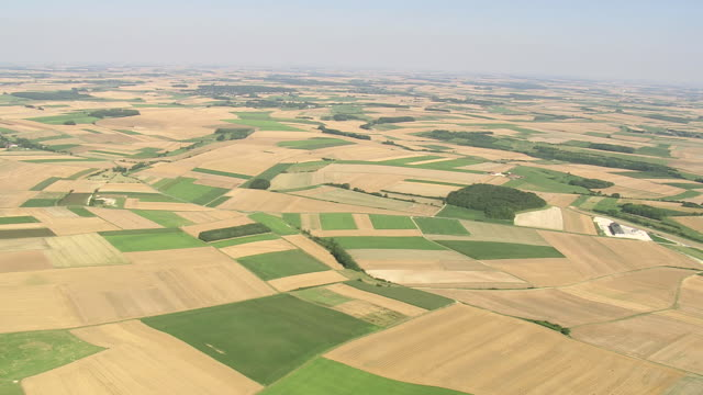 WS AERIAL ZI View of Picardy Fieldscape with village / Picardy, France