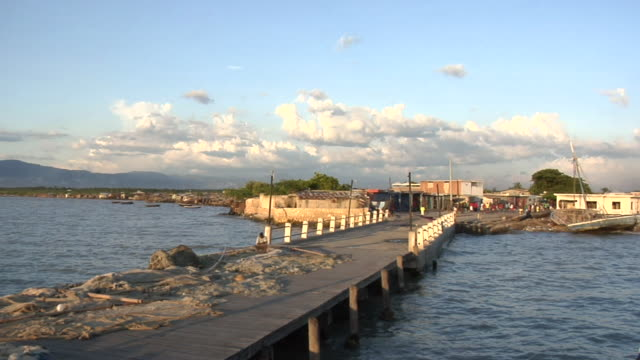 WS ZI View of pier at Puerto Principe / Haiti