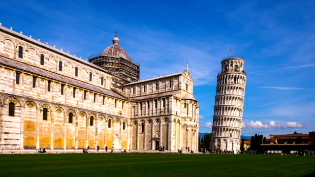 View of Pisa Cathedral (the third oldest structure in the city's Cathedral Square) and the Leaning Tower of Pisa