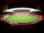 View of pitch from stand of Anfield football stadium Liverpool