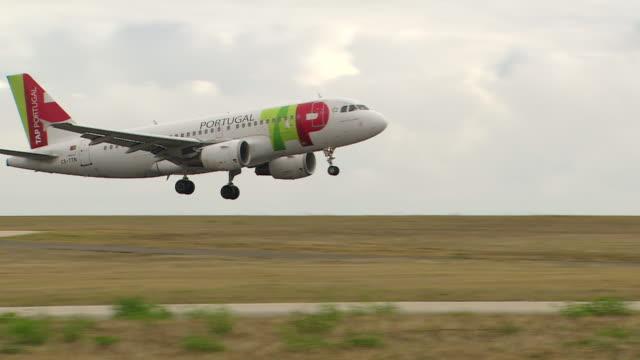 WS TS View of plane landing airport / Lisbon, Portugal